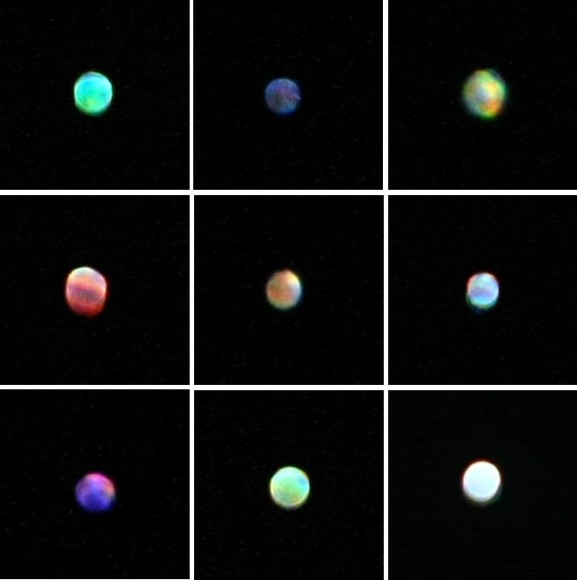 The color and brightness of Sirius can change rapidly as it twinkles. I shot these slightly out of focus to spread the color out and show it more clearly. Not only are the hues striking but brightness changes are obvious, too. Photo: Bob King