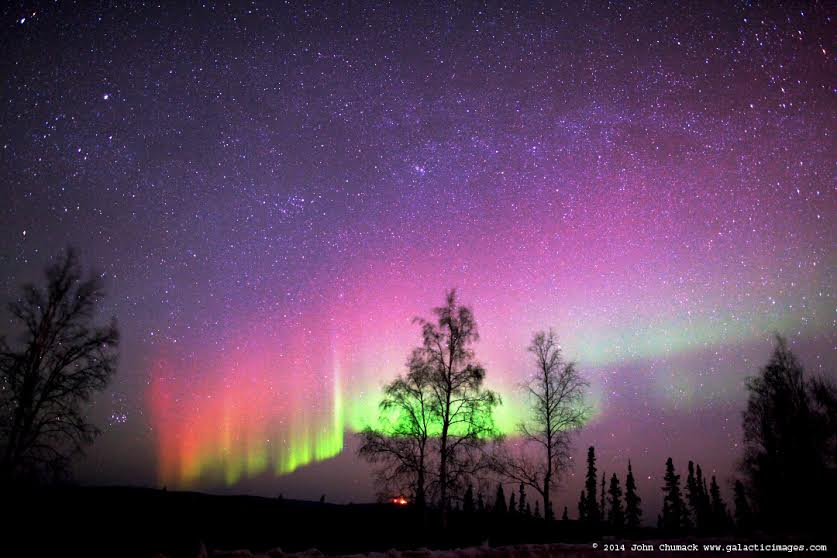 Aurora on March 24, 2014 near Fairbanks, Alaska. Credit and copyright ...