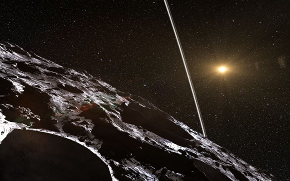 Artist's impression of what the rings of the asteroid Chariklo would look like from the small body's surface. The rings' discovery was a first for an asteroid. Credit: ESO/L. Calçada/Nick Risinger (skysurvey.org)