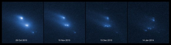 This series of images shows the asteroid P/2013 R3 breaking apart, as viewed by the NASA/ESA Hubble Space Telescope in 2013. This is the first time that such a body has been seen to undergo this kind of break-up.  Credit: NASA, ESA, D. Jewitt (UCLA).