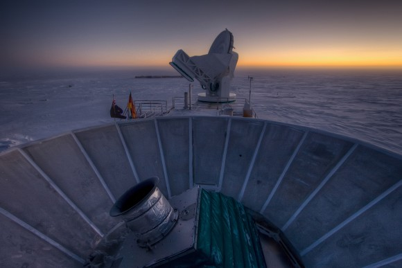 The BICEP telescope located at the south pole. Image Credit: CfA / Harvard