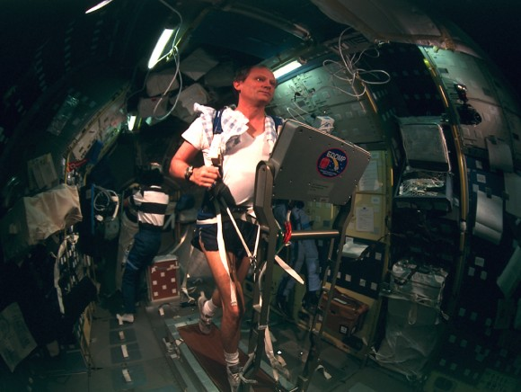 NASA astronaut Norm Thagard exercises aboard the Russian Mir space station in 1995. Thagard was the first American to launch into space aboard a Soyuz and spent what was then a record-breaking 115 days in space. Credit: NASA