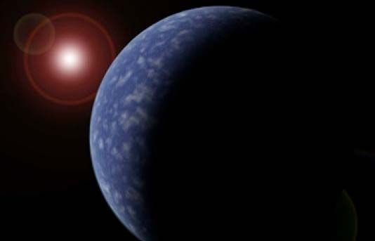 Artist's impression of a planet orbiting a red dwarf star. Credit: University of Hertfordshire
