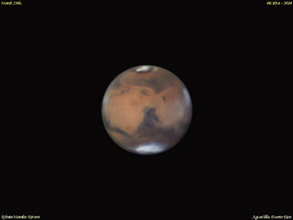 Mars as seen on from Aguadilla, Puerto Rico on Mars 25th, 2014, two weeks prior to opposition. Credit-Efrain Morales Rivera.