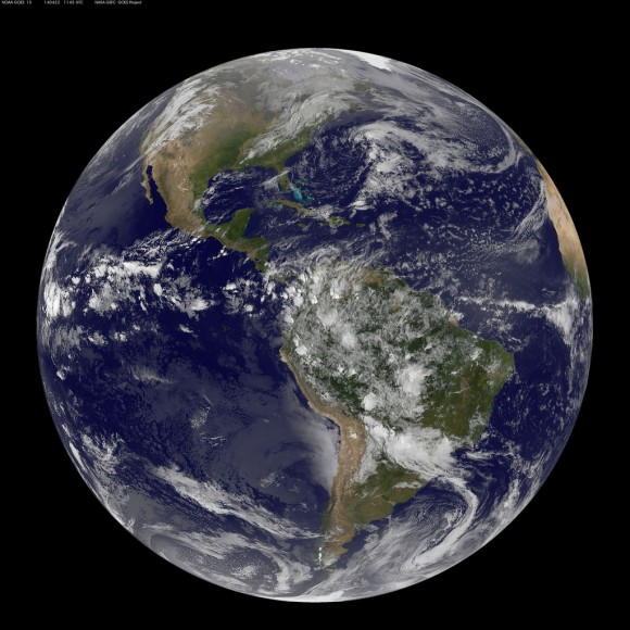 45 UTC/7:45 a.m. EDT. The data from GOES-East was made into an image by the NASA/NOAA GOES Project at NASA's Goddard Space Flight Center. Credit: NASA/NOAA.