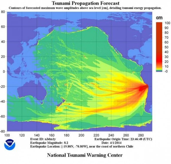 Tsunami propagation forecast following the April 1,  2014 earthquake off the coast of Chile. Credit: NOAA's Pacific Tsunami Warning Center.