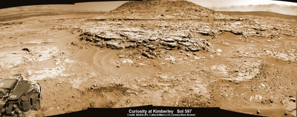 "Curiosity Mars rover captured this panoramic view of a butte called ""Mount Remarkable"" and surrounding outcrops at ""The Kimberley "" waypoint on April 11, 2014, Sol 597. Colorized navcam photomosaic was stitched by Marco Di Lorenzo and Ken Kremer.  Credit: NASA/JPL-Caltech/Marco Di Lorenzo/Ken Kremer - kenkremer.com"
