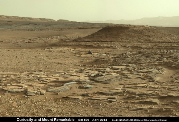 Curiosity scans scientifically intriguing rock outcrops of gorgeous Martian terrain at 'The Kimberley' waypoint in search of next drilling location beside Mount Remarkable butte, at right.  Mastcam color photo mosaic assembled from raw images snapped on Sol 590, April 4, 2014. Credit: NASA/JPL/MSSS/Marco Di Lorenzo/Ken Kremer - kenkremer.com