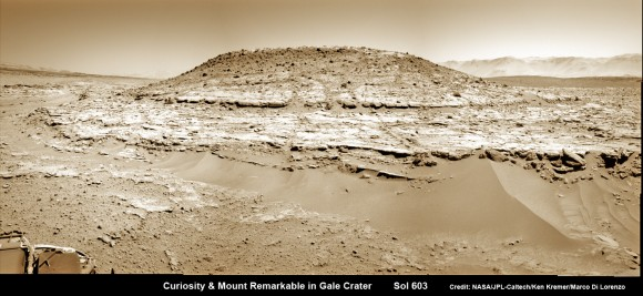 Curiosity's Panoramic view of Mount Remarkable at 'The Kimberley Waypoint' where rover will conduct 3rd drilling campaign inside Gale Crater on Mars.  The navcam raw images were taken on Sol 603, April 17, 2014, stit