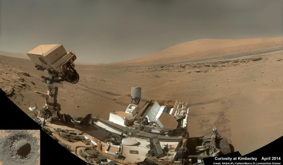 "Curiosity snaps selfie at Kimberley waypoint with towering Mount Sharp backdrop on April 27, 2014 (Sol 613). Inset shows MAHLI camera image of rovers mini-drill test operation on April 29, 2014 (Sol 615) into ""Windjama"" rock target at Mount Remarkable butte.  Mastcam color photo mosaic assembled from raw images snapped on Sol 613, April 27, 2014. Credit: NASA/JPL/MSSS/Marco Di Lorenzo/Ken Kremer - kenkremer.com"