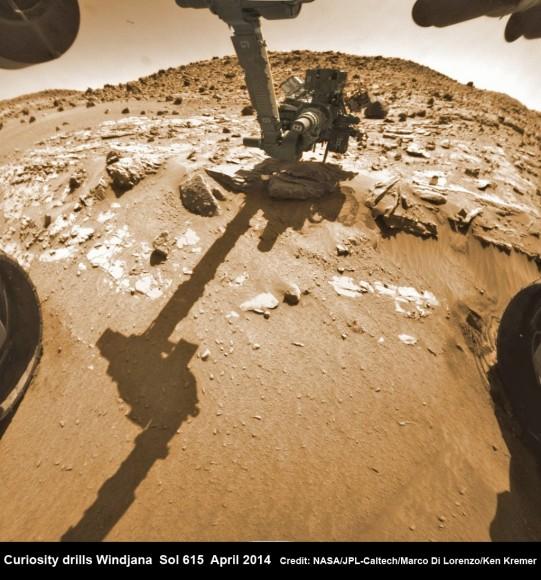 "Hazcam fisheye camera image shows Curiosity drilling into ""Windjana""  rock target  on April 29, 2014 (Sol 615).  Flattened and colorized image shows Mount Remarkable butte backdrop.  Credit: NASA/JPL/Marco Di Lorenzo/Ken Kremer - kenkremer.com"