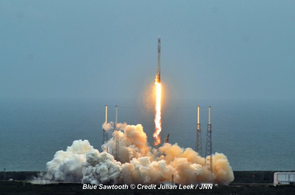 SpaceX Falcon 9 rocket liftoff on April 18, 2014 from Space Launch Complex 40 at Cape Canaveral, Fla.  Credit: Julian Leek