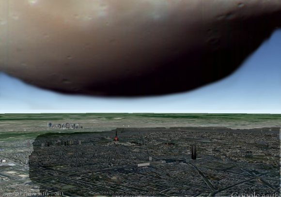 An imaginary graphic depicting how Deimos would look if it hovered over Paris, France. Credit and copyright: Ciro Villa.
