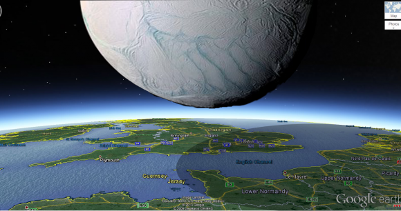 How Saturn's moon Enceladus would look if it hovered over southern England. Credit and copyright: Ciro Villa.
