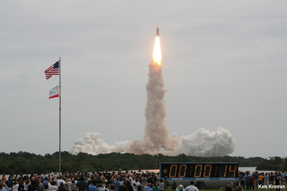 NASA's 135th and final shuttle mission takes flight on July 8, 2011 at 11:29 a.m. from the Kennedy Space Center in Florida bound for the ISS and the high frontier with Chris Ferguson as Space Shuttle Commander. Credit: Ken Kremer/kenkremer.com