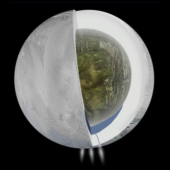 Artist's impression of the possible interior of Enceladus based on Cassini's gravity