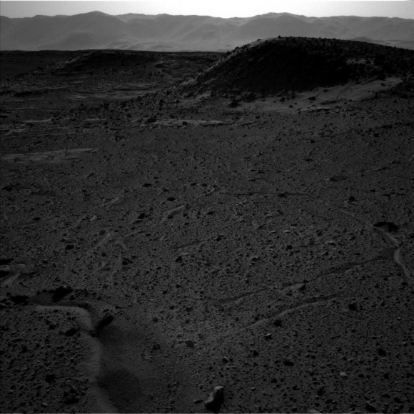 The left-Navcam image from April 4, 2014 shows no 'light.' Credit: NASA/JPL.