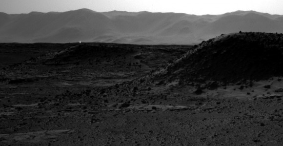 A cosmic ray hit on a camera on the Curiosity rover produced what looks like a 'light' on Mars. Credit: NASA/JPL
