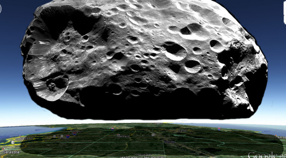 A graphic of imagining the moon Phoebe (Saturn IX) hovering Central Florida. Credit and copyright: Ciro Villa.