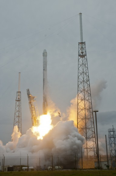 SpaceX Falcon 9 rocket and Dragon resupply ship launch from the Cape Canaveral Air Force Station in Florida on April 18, 2014.   Credit:  Jeff Seibert/Wired4Space