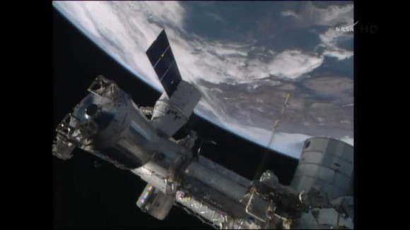 SpaceX Dragon resupply spacecraft arrives for successful berthing and docking at the International Space Station on Easter Sunday morning April 20, 2014. Credit: NASA TV