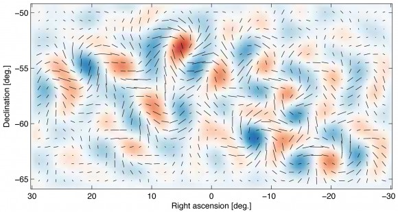 Shown here are the actual B-mode polarization patterns provided by the BICEP2 Telescope. Image Credit: Harvard-Smithsonian Center for Astrophysics