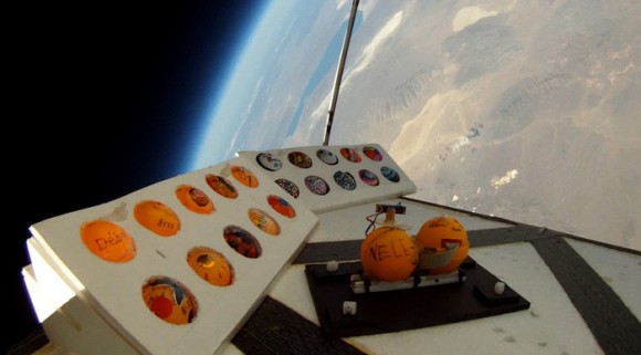 "A view of ""Pongsats"" containing student experiments in a high-altitude balloon that goes to about 100,000 feet. Credit: John Powell / JP Aerospace / Kickstarter"