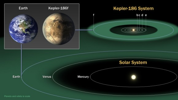 Scale comparison of the Kepler-186 system to our inner Solar System (