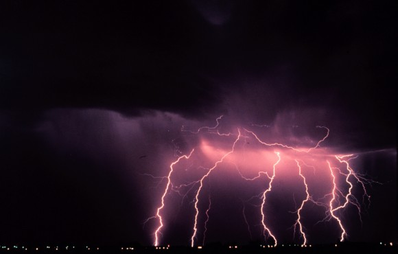 Time-lapse photo of several lightning strikes at night. Credit: NOAA Photo Library, NOAA Central Library; OAR/ERL/National Severe Storms Laboratory (NSSL)