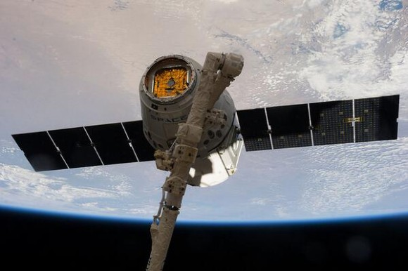 SpaceX-3 Dragon cargo freighter was detached from the ISS at 8 AM ET on May 18, 2014 and released by station crew at 9:26 AM for splashdown in the Pacific Ocean with science samples and cargo.  Credit: NASA