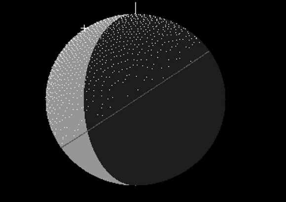 the shaded or speckled area indicates where May Camelopardalids can stoke the lunar surface. telescopic observers will want to point their telescopes to the shaded dark area at the top right of the lunar disk.