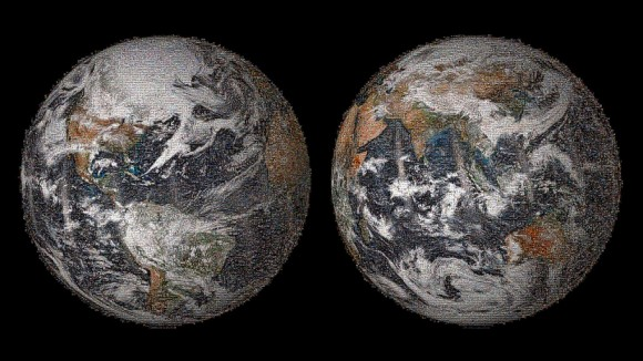 "Images of Earth assembled from over 36,000 fan-submitted ""selfless"" on Earth Day, April 22, 2014 (NASA)"