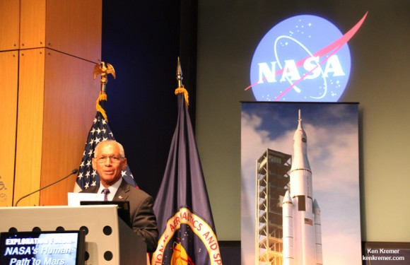 NASA Administrator Charles Bolden discusses future of NASA human spaceflight at NASA Headquarters, Washington, DC. Credit: Ken Kremer- kenkremer.com