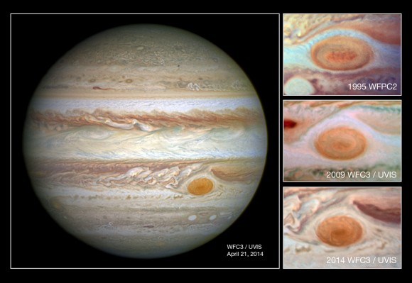 In this comparison image the photo at the top was taken by Hubble's Wide Field Planetary Camera 2 in 1995 and shows the spot at a diameter of just under 21 000km; the second down shows a 2009 WFC3 photo of the spot at a diameter of just under 18 000km; and the lowest shows the newest image from WFC3 taken in 2014 with the spot at its smallest yet, with diameter of just 16 000km. Credit: NASA/ESA