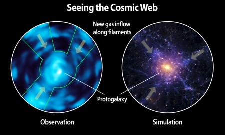 Comparison of Lyman alpha blob observed with Cosmic Web Imager and a simulation of the cosmic web based on theoretical predictions. Credit: Christopher Martin, Robert Hurt - See more at: http://www.caltech.edu/content/intergalactic-medium-unveiled-caltechs-cosmic-web-imager-directly-observes-dim-matter#sthash.3bs0Xl3d.dpuf