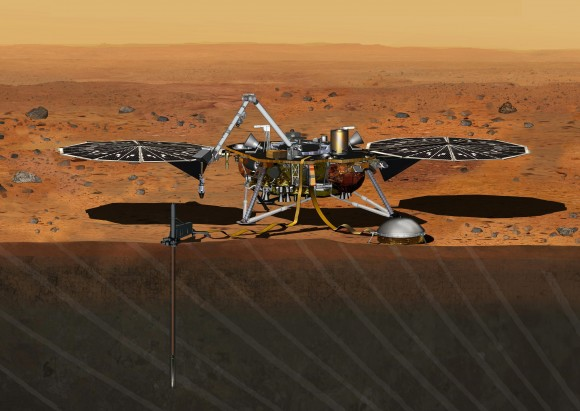 Artist's conception of the NASA InSight Mars lander. Credit: NASA/JPL-Caltech