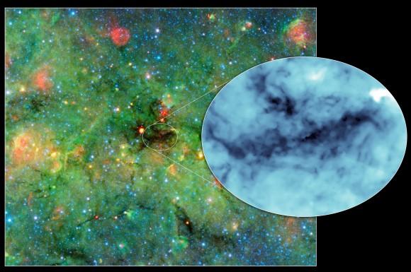 """Cosmic clumps"" seen in NASA's Spitzer Space"