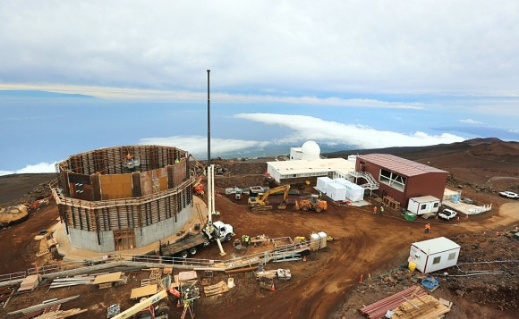 Construction on the new observatory on the summit of the Haleakala Crater on Maui, Hawaii this February. Credit: National Solar Observatory