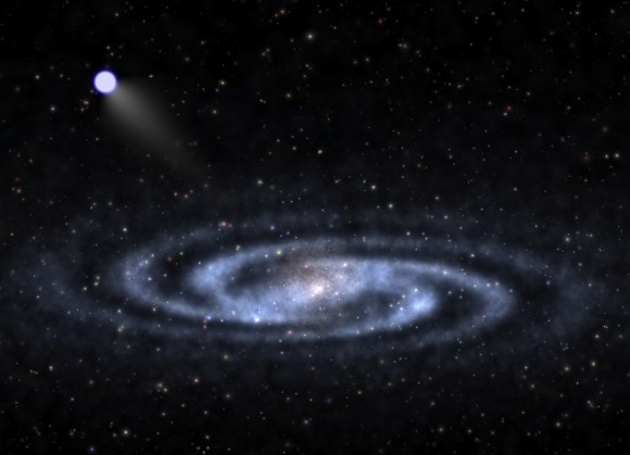 Artist's conception of a hyperveloctiy star heading out from a spiral galaxy (similar to the Milky Way) and moving into dark matter nearby. Credit: Ben Bromley, University of Utah