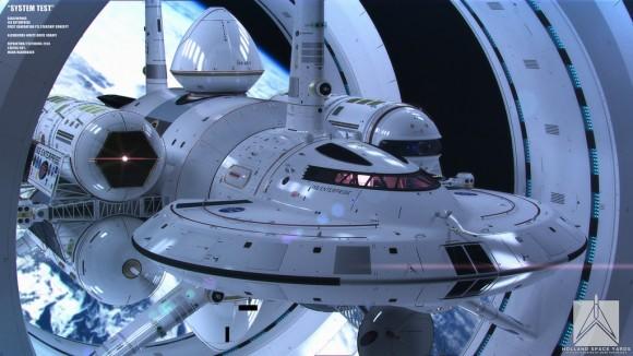 Artist's impression of the IXS Enterprise, a warp ship. Credit: Mark Rademaker