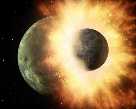 Artist's conception of two celestial bodies smacking into each other. Such a collision is believed to have formed Earth's moon. Credit: NASA/JPL-Caltech