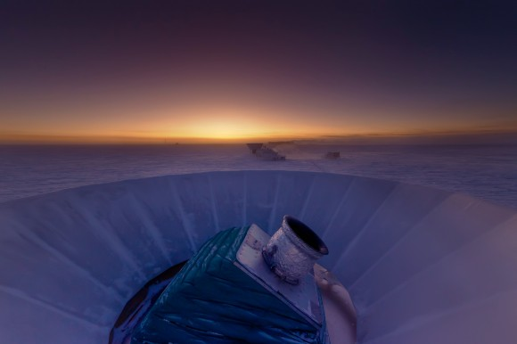 BICEP2 Telescope at twilight at the South Pole, Antartica (Credit: Steffen Richter, Harvard University)