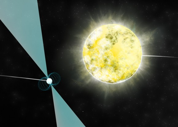 Artist impression of a white dwarf star in orbit with pulsar PSR J2222-0137. It may be the coolest and dimmest white dwarf ever identified. Credit: B. Saxton (NRAO/AUI/NSF)