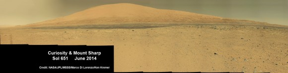 Curiosity rover panorama of Mount Sharp captured on June 6, 2014 (Sol 651) during traverse inside Gale Crater.   Assembled for Mastcam color camera raw images and stitched by Marco Di Lorenzo and Ken Kremer.   Credit:   NASA/JPL/MSSS/Marco Di Lorenzo/Ken Kremer-kenkremer.com
