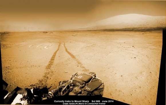 1 Martian Year on Mars! Curiosity treks to Mount Sharp in this photo mosaic view captured on Sol 669, June 24, 2014. Navcam camera raw images stitched and colorized. Credit: NASA/JPL-Caltech/Marco Di Lorenzo/Ken Kremer – kenkremer.com