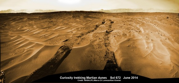Curiosity treks across Martian dunes and drives outside landing ellipse here, in this photo mosaic view captured on Sol 672, June 27, 2014.    Navcam camera raw images stitched and colorized.   Credit: NASA/JPL-Caltech/Marco Di Lorenzo/Ken Kremer – kenkremer.com