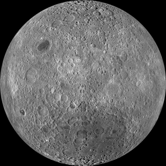 Composite image of the far side of the moon taken by the Lunar Reconnaissance Orbiter in 2009. Credit: NASA