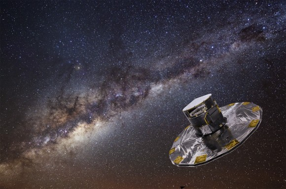 Artist's conception of the Gaia telescope backdropped by a photograph of the Milky Way taken at the European Southern Observatory. Credit: ESA/ATG medialab; background: ESO/S. Brunier