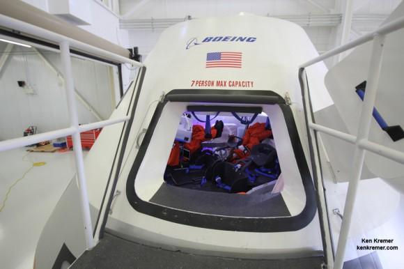 Hatch opening to Boeing's commercial CST-100 crew transporter.  Credit: Ken Kremer - kenkremer.com