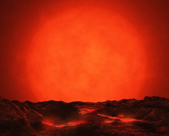 Illustration of the red supergiant Betelgeuse, as seen from a fictional orbiting world. ©Digital Drew.
